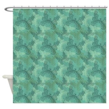 Teal Butterfly Elegance Shower Curtain> Shower Curtains> SpiceTree Gift Shop