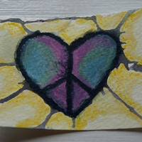 ACEO Original Peace Watercolor - With All My Heart Series 25