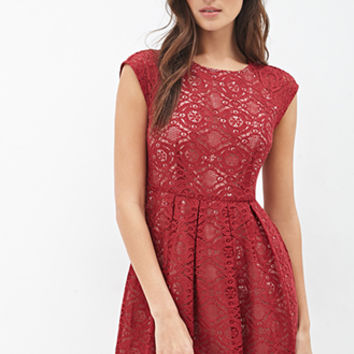 LOVE 21 Pleated Lace Fit & Flare Dress