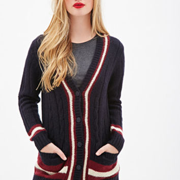 FOREVER 21 Cable Knit Varsity Cardigan Navy/Cream