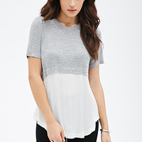 FOREVER 21 Colorblocked Layered Tee Grey/Cream