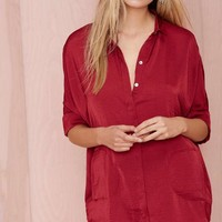 The Big Easy Satin Top - Burgundy
