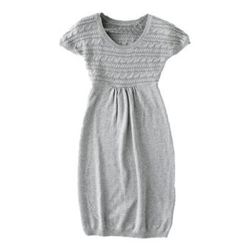 Woman's Round Neck Relaxed Knitted Dress with Braided Detail