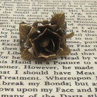 Flower Adjustable Brass Ring