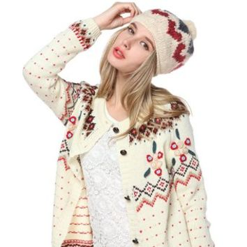 Women's Heart Pattern Knitted Hat with Pom Pom Beanies