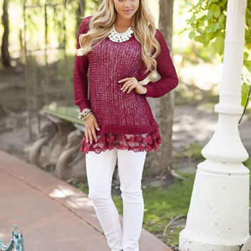 From the South Lace Tunic Sweater Burgundy CLEARANCE - Modern Vintage Boutique