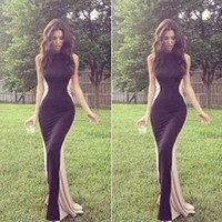 Leshery Sexy Women Sleeveless Fishtail Fitted Bodycon Evening Ball Prom Party Long Dress (L)