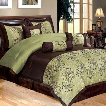 7 Piece Bed In A Bag, PEONY SAGE GREEN / Brown FAUX SILK Comforter Set - QUEEN Size Bedding