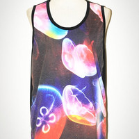 Jellyfish Black Singlet Tank Top Photo Transfer Art Punk Rock Pop Animal T-Shirt Size L