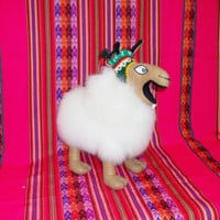 Peruvian Design Stuffed Crazy Llamas made of Alpaca Fur.
