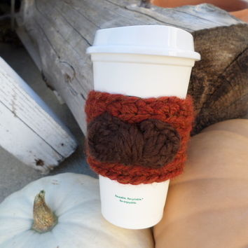 Coffee Cozy--Rust With Brown Bow