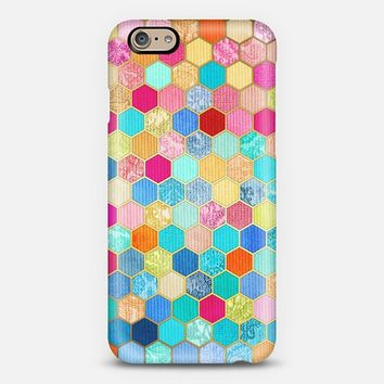 Patterned Honeycomb Patchwork in Jewel Colors iPhone 6 case by Micklyn Le Feuvre | Casetify