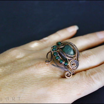 Copper wire ring, green jade ring, copper ring, gothic ring, wire wrapped ring, victorian ring, antique bronze ring, bohemian jewelry