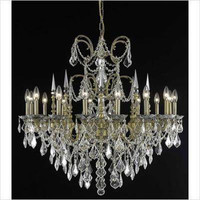 Elegant Lighting 9716D35FG/SA Athena French Gold Sixteen-Light Chandelier with Clear Spectra Swarovski Crystals - (In Swarovski Spectra)