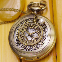 Retro Steampunk Golden Rose Garden Pattern Pocket Watch Necklace,With Mystery Clock Pearl Pendant D004