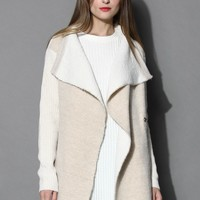 Butter Soft Knitted Draped Coat  Beige S/M