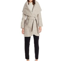 T Tahari Women's Marla Tweed Wool Wrap Coat