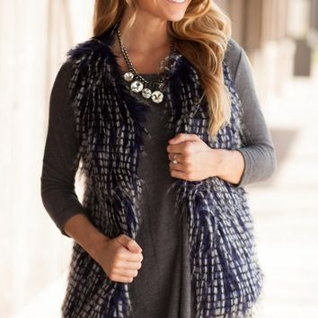 Make the Fur Fly Navy Vest - Lotus Boutique
