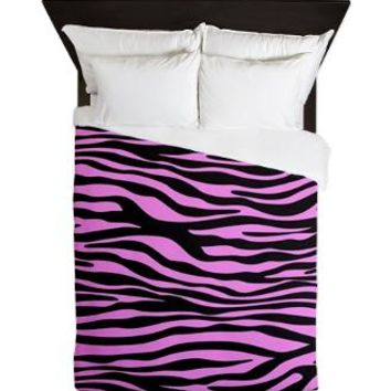 Pink Zebra Queen Duvet> Animal Print, Zebra Stripes> Strawberry and Hearts
