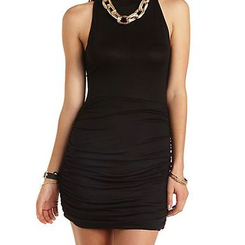 Ruched Mock Neck Bodycon Dress by Charlotte Russe - Black