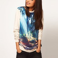 ASOS Woodland Woven Front Sweatshirt at asos.com