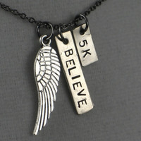FLY 5k - I BELIEVE Necklace - 5k Necklace on 18 inch gunmetal chain - Running Jewelry - Running Necklace