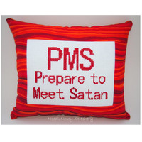 Funny Cross Stitch Pillow, Cross Stitch Quote, Red Pillow, PMS Quote