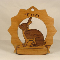 Tan  Rabbit Personalized Wood Ornament