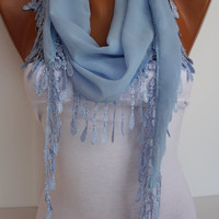 Baby Blue Chiffon Shawl Scarf - Headband -with Lace Edge - Trending Summer