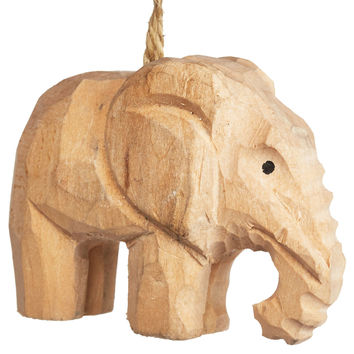 "3"" Carved Wood Elephant Ornaments, Set of 4, Ornaments"