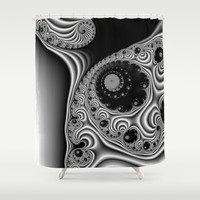 Black and White Fractal 12 Shower Curtain by Christy Leigh | Society6