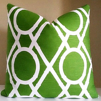 Dwell Studio Pillow Cover. Green Lattice Print Pillow Cover -  Pick Your Pillow Size