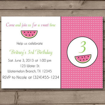 Watermelon Party Printable Invitations