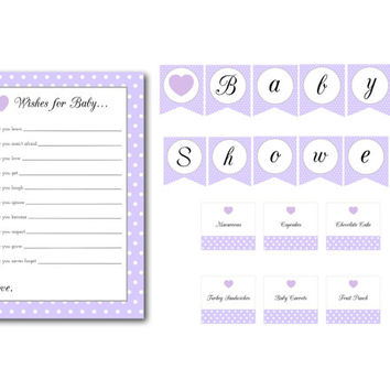 Purple Polka Dot Heart Baby Shower Banner, Food Labels, and Wishes for Baby Cards: INSTANT DOWNLOAD