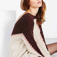 Ecote Chevron Scoop-Back Pullover Sweater - Ivory