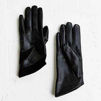Leather + Suede Angled Glove- Black