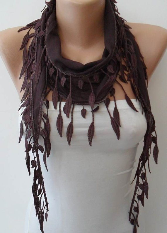 Brown-Dark Purple Scarf with Trim Edge --- Summer Collection.