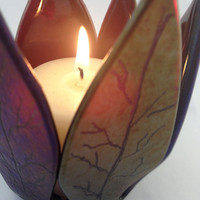 Fused Glass Votive Candle Holder Autumn Leaves Gold Purple Copper 514