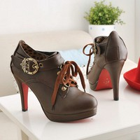 Wholesale Platform Lace-up Buckle Pumps Light Brown