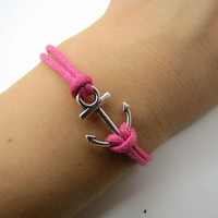 Vintage Style silvery Anchor pink  Ropes Bracelet Women Jewelry Bangle Cuff Bracelet Men Ropes Bracelet 1215A