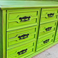 Green Vintage Dresser/ Bright Buffet/ Bedroom Furniture/ Distressed /Black Drawer Pulls/ TV Stand/ Storage/ Dining Room Furniture
