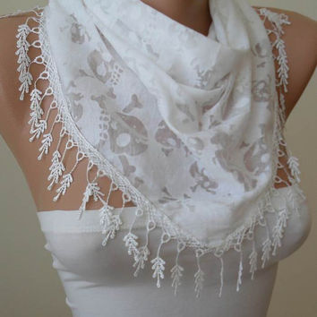 White Cotton and Transparent Fabric - Skull Printed Scarf - with White Trim Edge - Summer Collection -