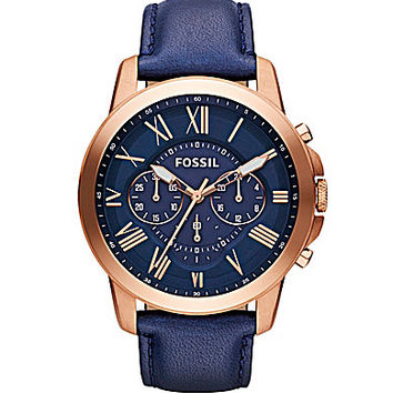 Fossil Grant Navy Leather Strap Chronograph Watch  Navy