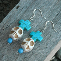 Day of the Dead Skull Earrings with Turquoise Blue Crosses By InkandRoses13