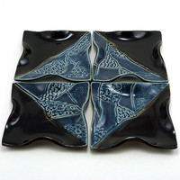 Ceramic Plate Set:  4 Black and Blue Plates Textured with Corals and Shells, Beach Themed Tapas Plates by MiriHardyPottery