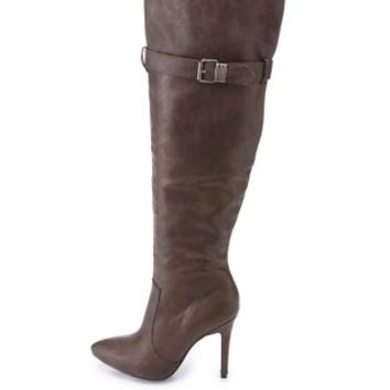 Knee-High Stiletto Boots by Charlotte Russe - Brown