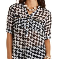 Zipper Pocket Houndstooth Chiffon Top - Black/White