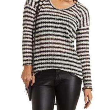 High-Low Striped Hoodie by Charlotte Russe - Black/Ivory