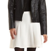 Textured High-Waisted Skater Skirt by Charlotte Russe - White