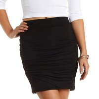 Ruched Tulip Mini Skirt by Charlotte Russe - Black